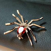 superbe broche araignée métal doré pierre rouge & strass
