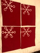 4 Red Felt Placemats With White Snowflake, Vintage Look, FREE SHIPPING