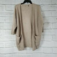 Halogen Tan Brown 100% Cashmere Sweater 3/4 Sleeves Womens One Size