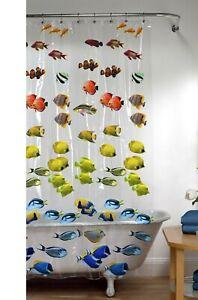 New School Tropical Fish Vinyl PEVA Shower Curtain Nautical Seaside Bath Clear