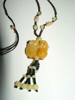 Yellow Honey Jade Jadeite Expandable necklace with Carved Chinese Foo Lion Dogs