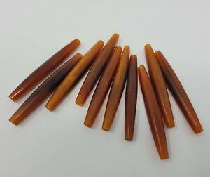 """10 Tortoise Brown Amber Genuine Bone Hair Pipe Craft Jewelry Beads 2-1/2"""" India"""