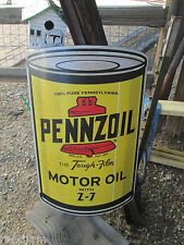 PENNZOIL HUGE OIL CAN Metal Display Garage Gas Man Cave Shop Garage Game Room