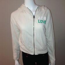American Eagle Hoodie Size M Medium Womens Zip Up Fleece Jacket White