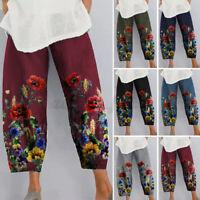 Women High Waist Cotton Wide Leg Pants Ladies Casual Loose Floral Print Trousers