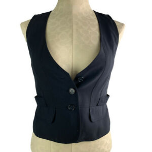 2P Ann Taylor Petites Women's Navy Blue Sleeveless Vest Lined Wool Blend