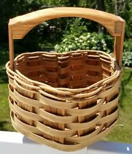 VTG Hand Crafted Wood & Wicker Basket Cottagecore Heart Shaped 8