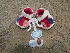 Nwt Pink The Childrens Place 0-3 Mos Baby Girl Shoes white with flowers
