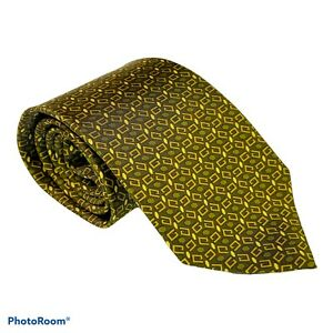 Silk Gucci Monogram Chain link  Tie, Gold Made In Italy EUC 3.75 X 59