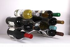 Wine Drinks Rack Polished Aluminium 9 Bottle Sturdy Countertop Unique Gift -0020
