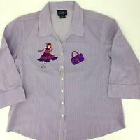 Red Hat Society Las Olas Shirt Women's Size Large Purple  Purse Woman Patch