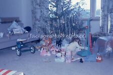 Unwrapped Christmas Toys Under the Tree 1966 Vintage Color Slide