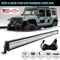 52inch 700W Spot Flood LED Work Light Bar Offroad Driving SUV ATV Car 4WD Boat
