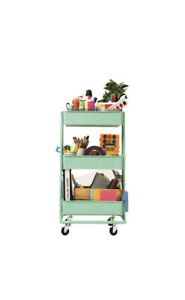Seville Classics 3-Tier Steel Bin Trolley Cart - White , Black And Teal Green