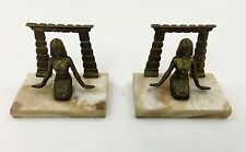 ART DECO EGYPTIAN MARBLE AND BRONZE BOOK ENDS 1920s KING TUT/TUTANKHAMUN