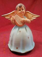 """Anri Toriart Wooden Angel W/ Reuge Musical Movement Plays """"Brahms Lullaby"""""""