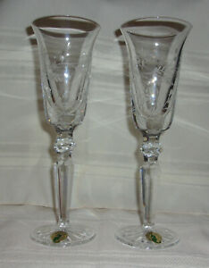 Waterford Crystal 18th Century Flutes Floral Copper Wheel Engraved Pair in Box