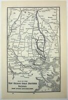 New Orleans Great Northern Railroad - 1907 Route Map. Antique