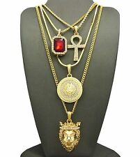 ICED OUT KING LION, MEDUSA, RUBY, ANKH PENDANT, BOX CHAINS 4 NECKLACE SET GN051G