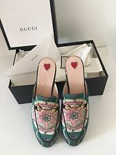 BNWT GUCCI Princetown horsebit-detailed printed satin sleepers Sz 38.5 RRP $695