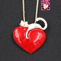 Betsey Johnson Cute Enamel Big Love Heart Cat Kitten Pendant Necklace/Brooch Pin