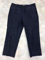 Ellen Tracy Women's Blue Solid Dark Wash Side Zip Cropped Jeans Sz 6
