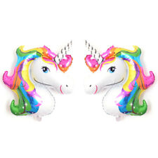 2PCS Rainbow Unicorn Head Foil Balloon Children Birthday Party Decoration