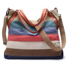 Women Hit Color Striped Handbag Canvas Shoulder Bag Messenger Satchel Tote Bags