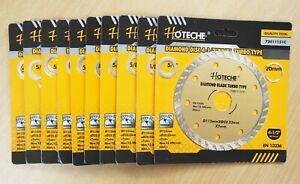 "Lot of (10) 4-1/2"" Diamond Blade Wet/Dry Turbo Arbor 7/8"" 5/8"" 20mm"