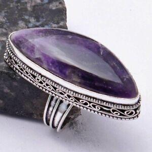 Amethyst Ethnic Handmade Antique Design Ring Jewelry US Size-8.5 AR 39764