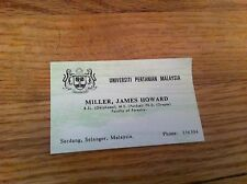Vintage Universiti Pertanian Malaysia Faculty Of Forest Business card Malaysian