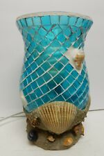Sea Shell Nautical Glass Table Lamp Ocean Electric 9""