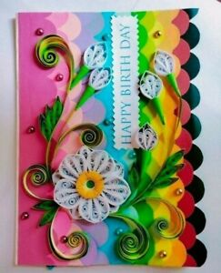 Happy Birthday Handmade Quilling 3D Greeting Cards Invitation with Envelop