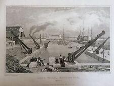 1830 Antique Print; The Dockyard at Sheerness. Kent
