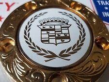 Cadillac Zenith Dayton Wire Wheel 2.25 Metal Chip Emblems Gold/White