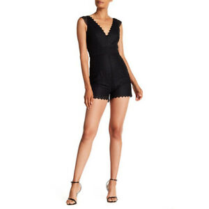 Monique Lhuillier Embroidered Floral Mesh Sleeveless Romper, Black, 6