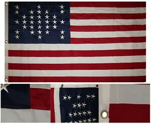 3x5 Embroidered Sewn Fort FT Sumter 33 Star 100% Cotton Flag 3'x5' Banner Clips