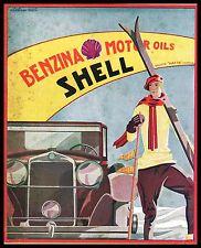 PUBBLICITA' 1931 SHELL BENZINA MOTOR OIL AUTO SPORT SCI NEVE BANDIERE W.ROSSI