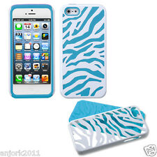 APPLE iPHONE 5 HARD ZEBRA FUSION HYBRID CASE SKIN COVER ACCESSORY WHITE/BLUE