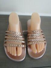Rouge Helium Womens Footbed Sandals Rose Gold Rhinestone Open Toe Slip On Size 9