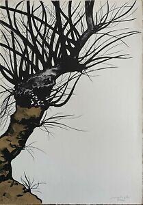 Carlo Mattioli litografia colori Alberi V 1976 65x46 firmata 38/50 pubblicata