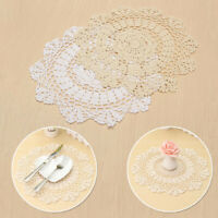 Flower Lace Coasters Placemat Table Vintage Handmade Craft Cloth Cotton Decors