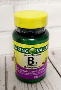 Spring Valley Natural Cherry Flavor Vitamin B12 Microlozenges 500 mcg 200 Ct