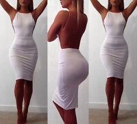 New Womens Ladies Low Back Backless Strappy Celeb Bodycon Sexy Midi Party Dress