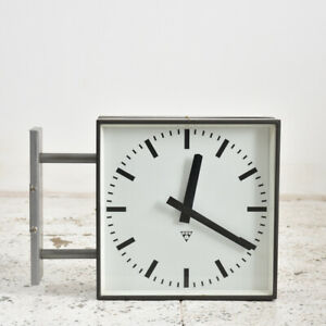 Industrial Vintage Vintage Double sided Clock By Pragotron - Large Wall