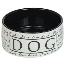 Nobby Dog Ceramic Bowl Live Love Bark Black, NEW