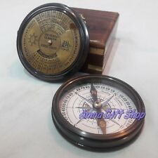 Brass Nautical Calendar Compass With Box Antique Gift
