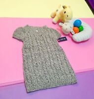 Girl's Toddler Cherokee Dress Sweater Knit Ribbed Short Sleeve Gray Size 2T