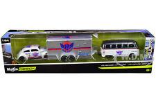 VOLKSWAGEN SAMBA BUS & VW BEETLE & ENCLOSED CAR TRAILER 1/64 MAISTO 11404-20 D