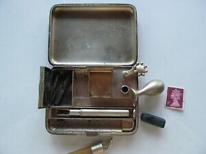 ANTIQUE APPAY PARIS RARE FRENCH STERLING SILVER STAMP INKWELL  SET SEAL